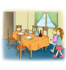 two children walking up to a dining table with plates on it