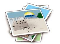 Stack of photos, with Jerusalem's Western Wall on top