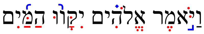 Graphic with Hebrew letters in black, vowels in red, and trope symbols in blue